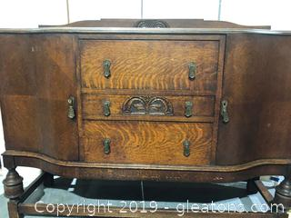 Antique Buffet Has Key to Lock Drawer oak Wood with Three
