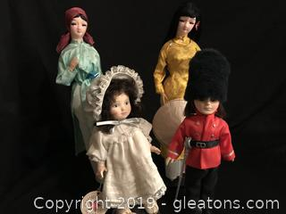 Two effenbee dolls and two oriental dolls