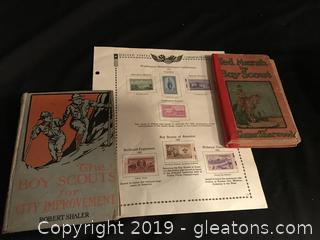Two vintage  Boy Scout story books and Boy Scout postal stamps