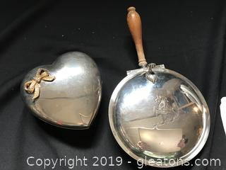 Silver Butler and heart shaped trinket box