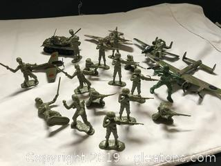 Cast airplanes and tank plastic army men