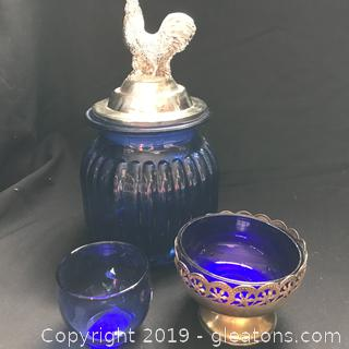 Farmhouse chicken canister cobalt blue votive holder candy dish