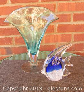 Blown Art Glass Light Bluish Green Fan Vase and Cobalt Clear and White Angel Fish