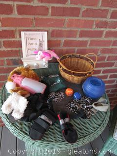Miscellaneous Puppy and Dog Items and Small Basket