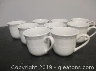 9 White Gibson Tea Cups