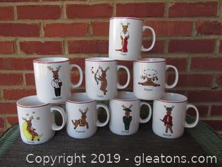8 Santa Reindeer Mugs Each Hold 10 ozs VIXEN MUG HAS AN ISSUE ON THE RIM SEE PHOTO Other are Great