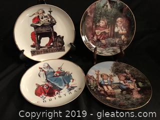 Two Norman Rockwell Christmas plates two Hummel plates