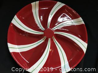 "Candy Swirl Relish Dish 15"" diameter"