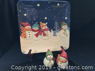 Large Snowman Cookie Dish and matching salt and pepper