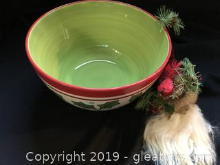 Large Christmas Bowl and Santa Beside