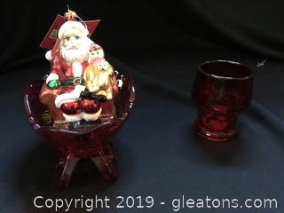Ruby Red Glass Sleigh +Santa ornament