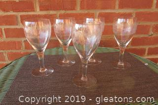 5 Vintage  Etched Wine Glasses  Holds 9 ozs / 7 inches tall