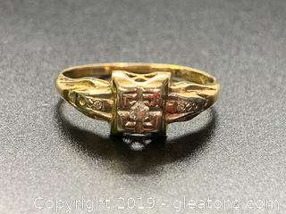 14k Gold Diamond Art Deco Engagement Ring