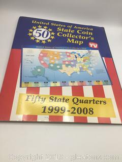 United States of America 50 State Coin Collectors Map(As Seen on TV) Includes Quarters