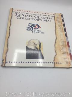 The Official United States Mint 50 States Collectors Map (With Quarters)  1998