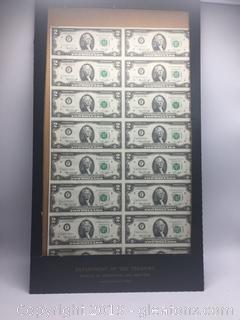 Department of the Treasury Bureau of Engraving and Printing 2 Dollar Bills