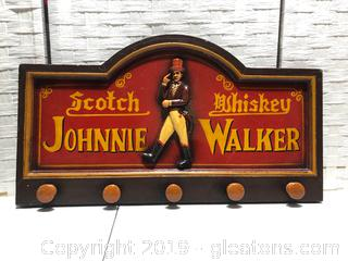Wooden Johnnie Walker Scotch Whiskey Wall Art Sign