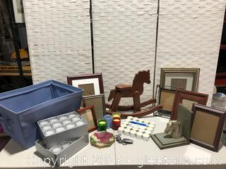 Lot of Picture Lamp Frames Brand New Candles & Books