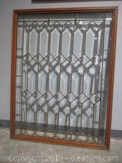 Geometric Leaded Glass Window in Excellent Condition