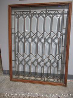 Geometric Leaded Glass Window C in Excellent Condition