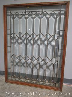 Geometric Leaded Glass Window D in Excellent Condition