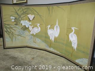 4 Panel Screen with White Cranes
