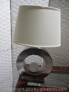 Modern Chrome Lamp with Circle Base