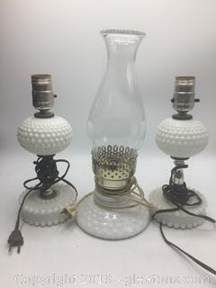 Antique Milk Glass Lamp Lot A