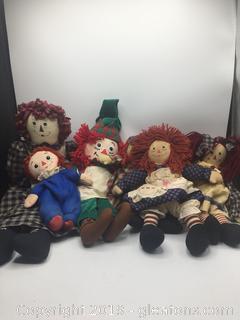 Vintage Raggedy Ann & Andy Dolls Lot A