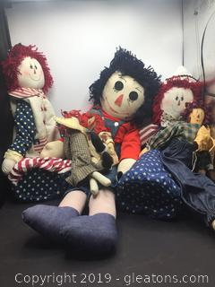 Vintage Raggedy Ann and Andy Doll Lot B