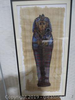 Hand Painted Egyptian Pharoah on Papyrus Framed