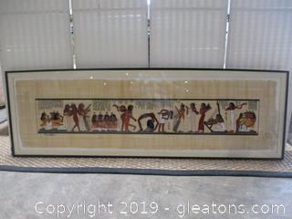 Hand Painted Egyptian Scene on Papyrus Framed