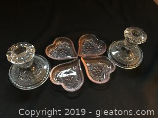 Vintage depression sandwich glass pink and clear