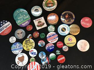Vintage buttons some political