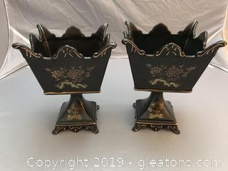 Vintage Ardalt Black hand painted pedestal bowls, planters or vase