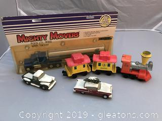 Vintage Ertl  Truck , Mattel train and 2 display cars