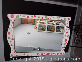 Green and Pink Polka Dot Hanging Mirror
