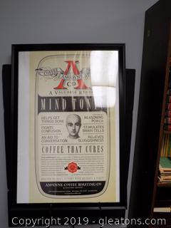 Anodyne Coffee Roasting Co. Framed Advertisement Poster