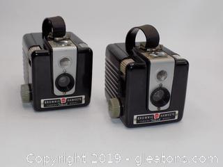 2 Brownie Hawkeye Kodak Cameras