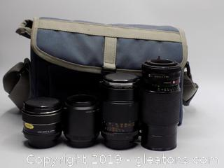 Camera Lens Lot with Camera Bag