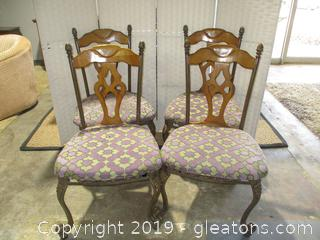 Set of 4 Wood + Iron Chairs With Upholstered Seats