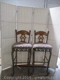 Set of 2 Wood + Iron Bar Stools with Upholstered Seats