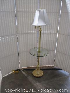 Vintage Brass Stiffel Floor Lamp with Glass Table