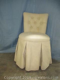 Front Gate Skirted Vanity Rolling Chair in Ivory