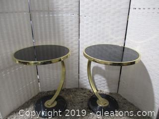 Pair of Modern Smoked Glass Side Table Black Marble Base