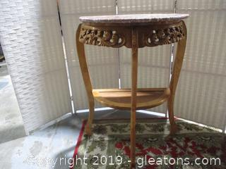 Half Moon Accent table W/Marble Top