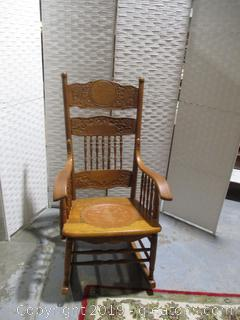 Vintage Rocking Chair with Leather Seat