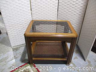 Wood, Glass and Rattan Side Table