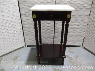 Marble Top Accent Table Cherry