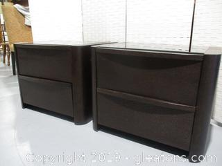 Pair of 2 Drawer Contemporary Nightstand with Glass Top